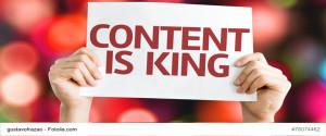 Content is King card with colorful background